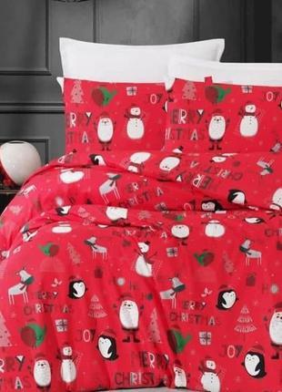 """Двухспальное постельное белье из ранфорса турция """"новогодняя т..."""
