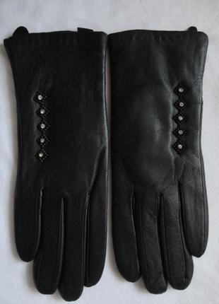 Кожаные перчатки подкладка плюш