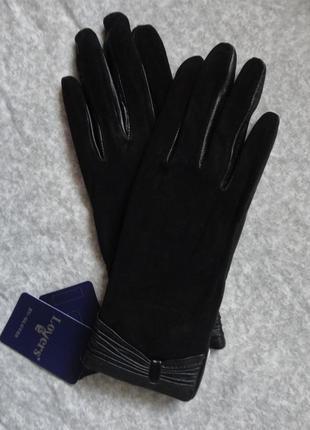 Шикарные женские кожаные перчатки лайка+замша