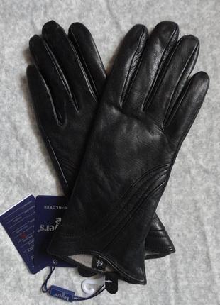 Теплые женские кожаные перчатки