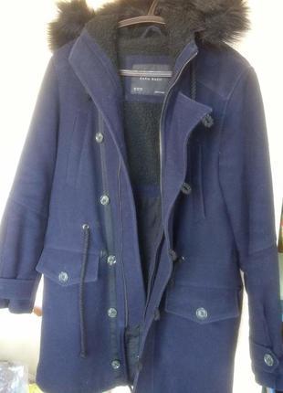 Распродажа!!!! теплая парка пальто полушерсть с капюшоном zara xs