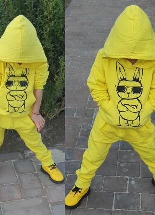 Яркий стильный костюм с начесом для малышей