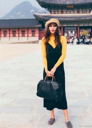 Черное платье в бельевом стиле трикотаж, сарафан, комбинация, ...