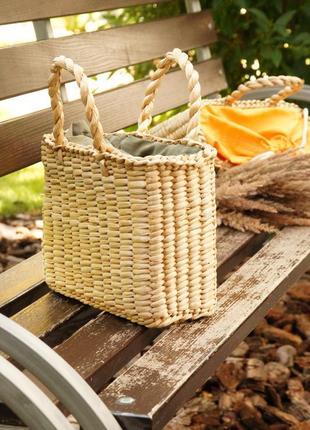 Соломенная сумка хаки oliva стильна солом'яна сумочка
