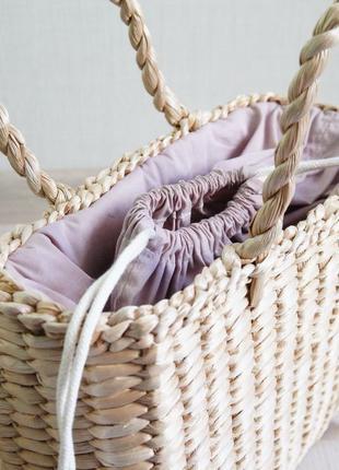 Соломенная сумка purple стильна солом'яна сумочка