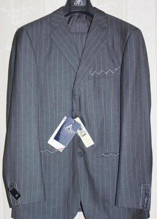 Элитный костюм 100% шерсть серый полоска emporio armani италия