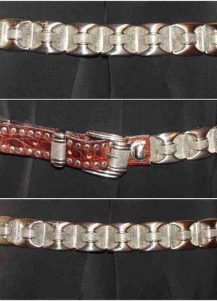 Крутой стильный ремень металл кожа, от nanni (создатель versacе)