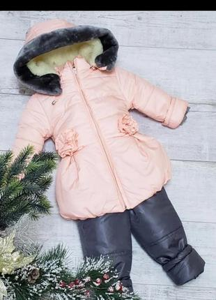 Детский зимний комбинезон для девочки, куртка и полукомбинезон