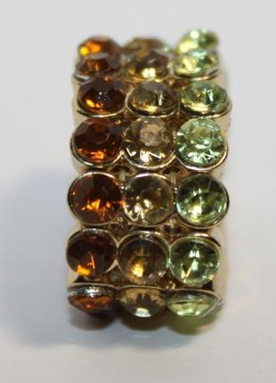 Кольцо бижутерия  безразмерное стразы полудрагов цитрин,хризопраз
