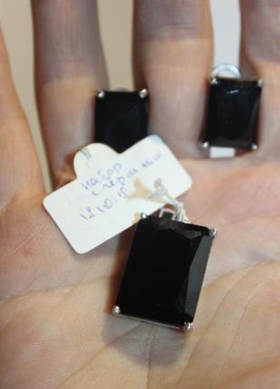 Набор  кулон+серьги серебро 925, чёрный цирконий 21,65 гр видо