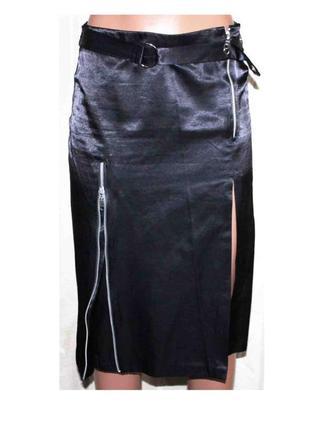 Стильная юбка атлас с замками, италия