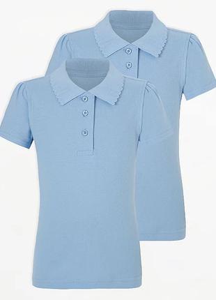 Футболка - поло школьная для девочки голубая короткий рукав Georg