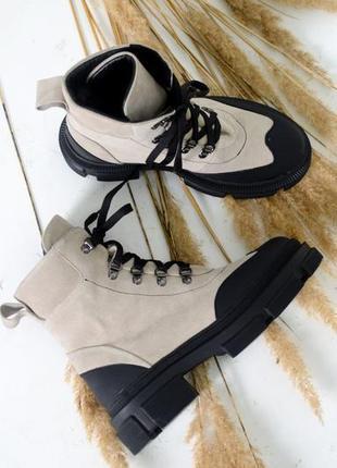 Кожаные женские ботинки натуральная кожа на шнуровке