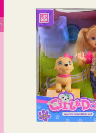 Кукла маленькая K899-29 (192шт/2) c двумя собачками, миской, в ко