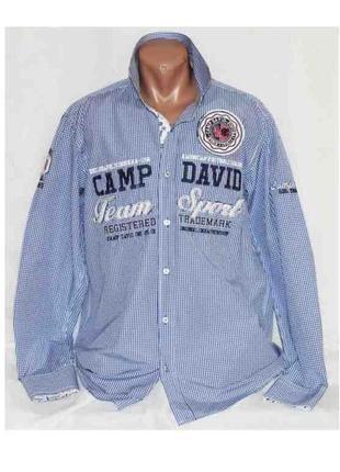 Модная брендовая рубашка в клетку camp david xl