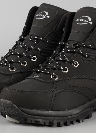 Ботинки унисекс Bona 780D-2-6 черные Размеры 36 37 38 39 40 41