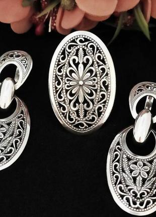 Серебряный комплект, 925, серебро, чернение, кольцо, серьги