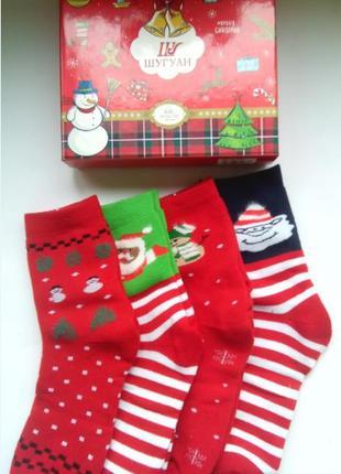 Носки женские махровые новогодние в подарочной упаковке наборо...