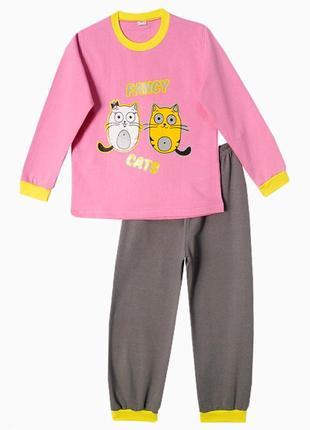 Детская пижама котик с начесом на 4-5 лет