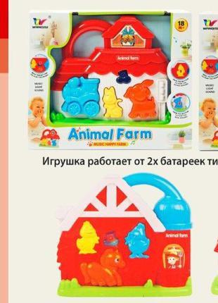 Муз разв.игра 1700/1800 (96шт/2)2 вида, батар., звуки животных, в