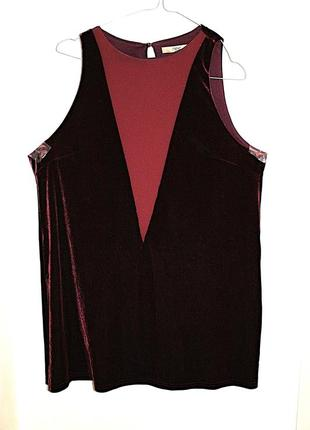 Платье бархатное марсал бордовое трапеция мини короткое next (...