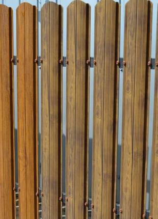 Штакетник штахети металеві під деревянный двухсторонний забор ...