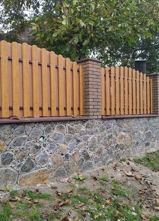 Штакетник штахет под деревянный двухсторонний евро забор ворота
