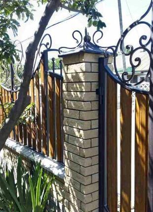 Штакетник штахети под деревянный двухсторонний евро забор ворота