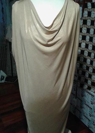 Стильное платье-туника-блуза золотое р 50-52-нарядно модно сек...