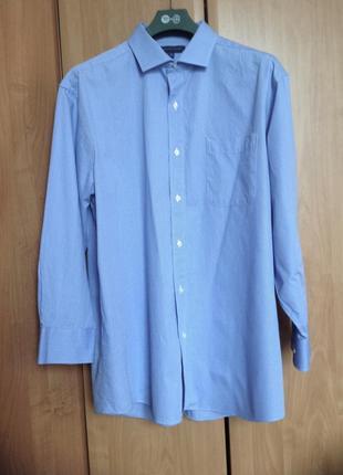 Рубашка мужская в голубая в белую полоску