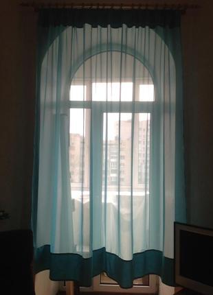 Тюль,штора, занавеска бирюзового цвета