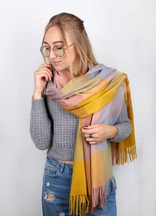 Теплый шарф палантин плед клетка желтый розовый