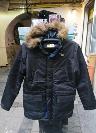 Куртка, пуховик ,парка аляска длинная темно-синяя мех зимняя у...