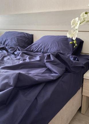 Комплект постельного белья ранфорс, синий, семейный размер
