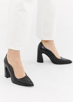 Стильные туфли лодочки на блочном каблуке с острым носом асос ...