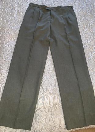 Серые мужские брюки шерсть 50% размер 54