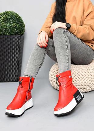❤ женские красные кожаные зимние ботинки дутики ❤