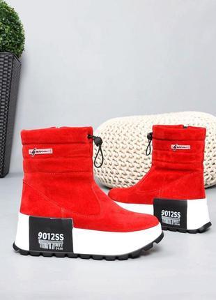 ❤ женские красные замшевые зимние ботинки дутики ❤
