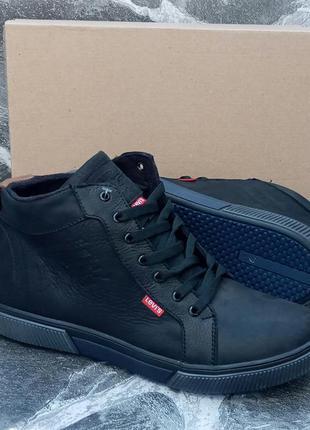Мужские зимние ботинки levis winter boots черные.кожаные.на меху