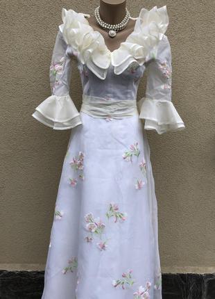 Винтаж,белое с вышивкой платье,вечернее,свадебное,фотосессий,