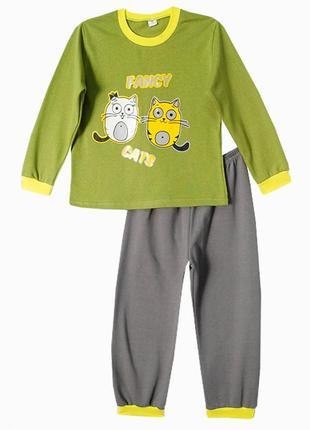 Детская пижамка с котиком (начес) на 3-4 года