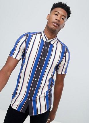 Asos рубашка в вертикальную полоску с коротким рукавом, сорочк...