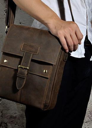 Мужская кожаная сумка чоловіча шкіряна сумка ручная работа кач...