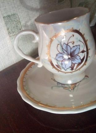 Фарфоровая кофейная пара перламутр позолота