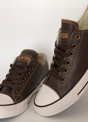 Кожаные кеды converse - низкие коричневые