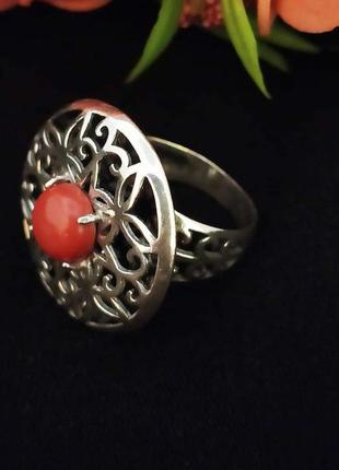 Серебряное кольцо с кораллом, 925, серебро, чернение