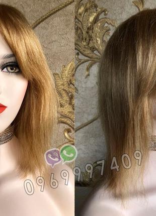 Парик с чёлкой из натуральных волос золотистый, натуральный