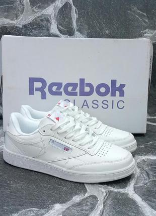Модные кроссовки reebok face stockholm белые.кожаные.осенние