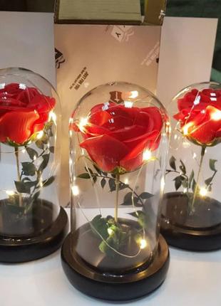 РОЗА В КОЛБЕ С LED ПОДСВЕТКОЙ, ночник, вечная роза, 17 СМ