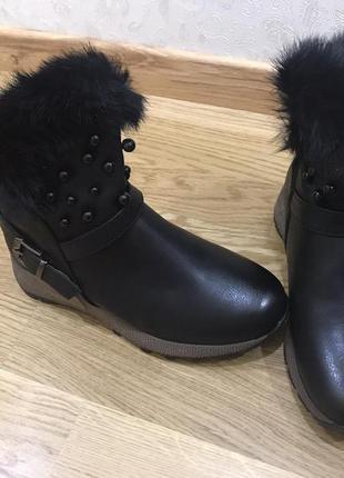 Жіночі черевики сезон зима пресована шкіра
